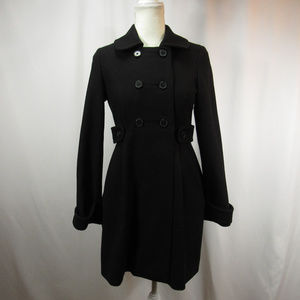 Old Navy Black Wool Button Up Blend Pea Coat NWT